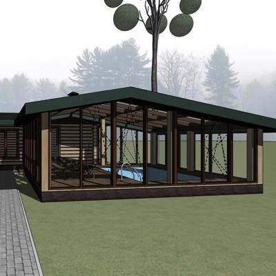 Проект пристраиваемой к бане террасы с бассейном