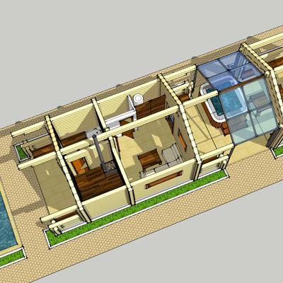 Проект модульного банного комплекса (баня, бассейн, зона барбекю) МБК-3
